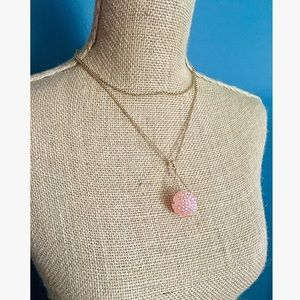 """Pink & Gold Drop Ball Necklace 18"""""""